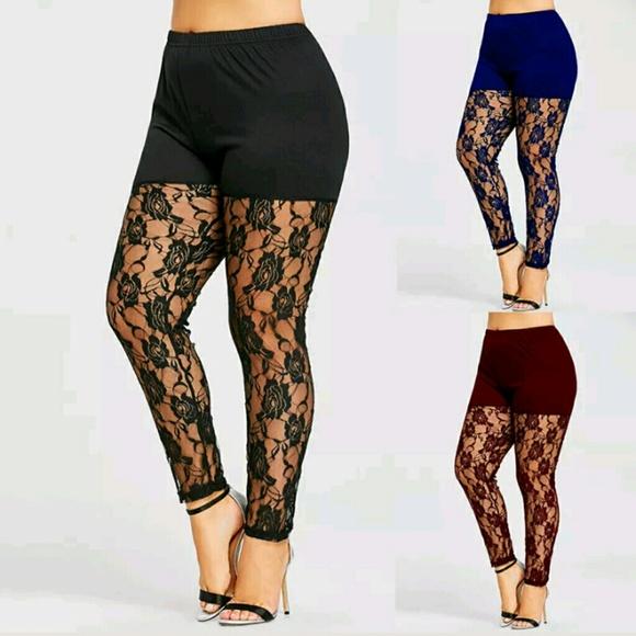 a3e0e4bae4e Sexy Lace Plus Size Footless Legging 2X
